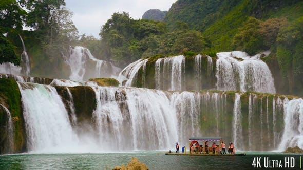Thumbnail for 4K Ban Gioc Waterfall In Northern Vietnam With Tour Boat