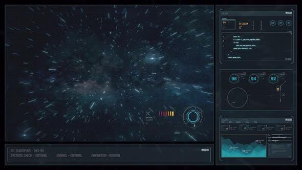 Digital Display Sci-Fi HUD - Space Travel Star Trails