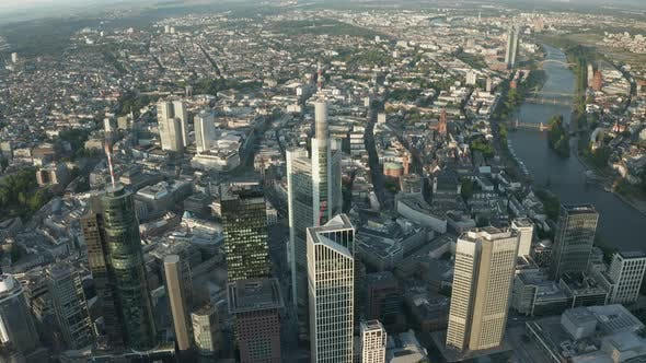 Thumbnail for Wide Circle Around Frankfurt Am Main Center Skyline in Beautiful Summerlight with Empty