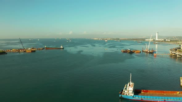 Cover Image for Sea Port of Cebu Island with Ships, View From Above.