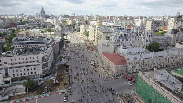 Bicycle Parade in Moscow, Aerial