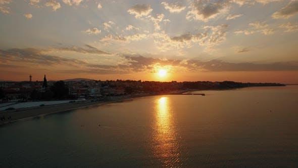 Thumbnail for Sunrise Aerial Panorama of Coastal Resort Town. Nea Kallikratia, Greece