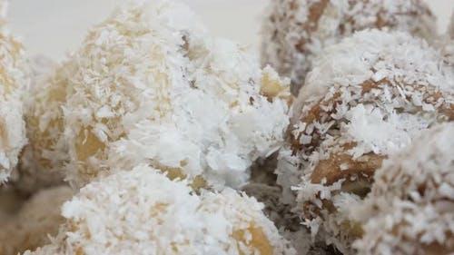 Croissant rolls sweet  pile close-up slow tilt 4K 2160p UHD  footage - Tilting on crescent-shaped pu