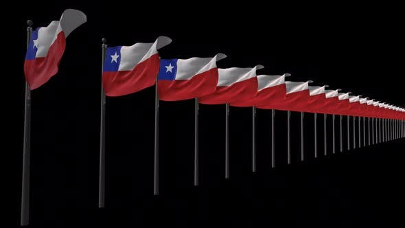 Row Of Chile Flags With Alpha 2K