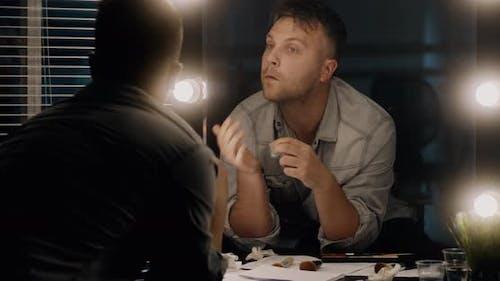 Actor Applying Makeup in Dressing Room
