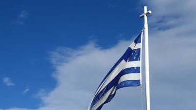 Greek flag in Platamonas Greece