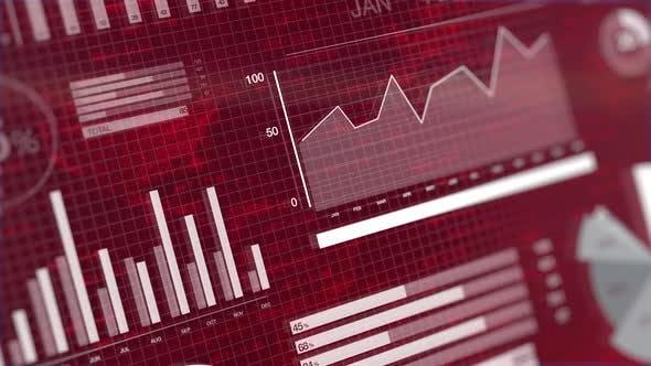 Thumbnail for 3D Animation von Grafiken auf rotem Hintergrund mit Börsenticker.