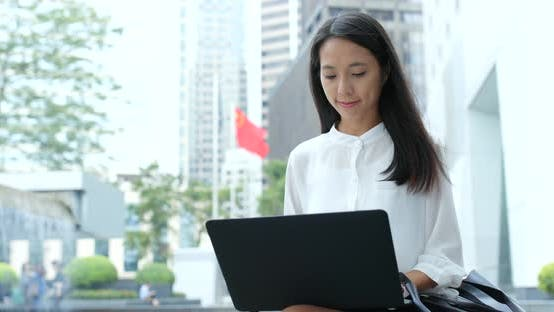 Thumbnail for Businesswoman work on laptop computer