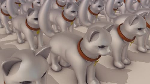 Viele Kunststoff-Spielzeug-Katzen in einer Reihe 4k