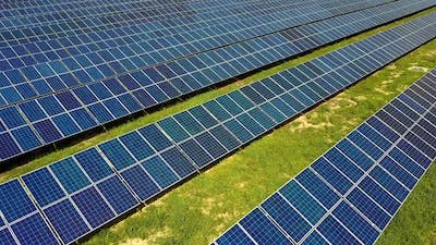 Solar Power Station. Field of solar panels for power production