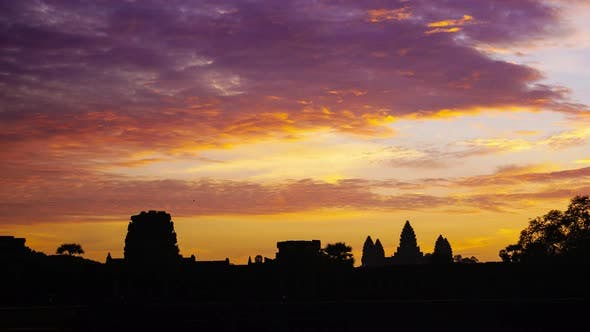 Thumbnail for Sunrise time lapse at Angkor Wat main facade silhouette, World famous temple in Cambodia