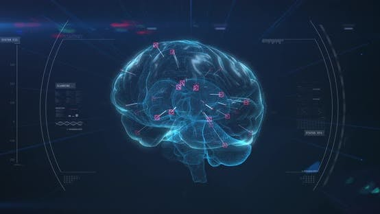 Spinning brain against data processing on blue background