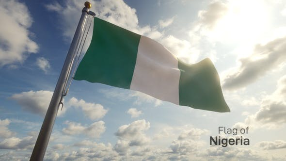 Nigeria Flag on a Flagpole