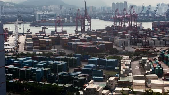 Thumbnail for HONG KONG/CHINA - JUNE 10 2019: Hong Kong Container Port Terminal and Logistics Center Timelapse Pan