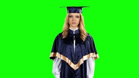 Thumbnail for Graduate Threatening Finger and Shows Sign Quietly. Green Screen