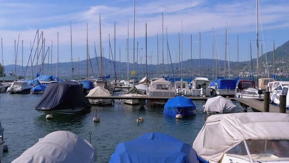 Thumbnail for Parked Pleasure Yachts and Boats in the Port on Lake of Geneva, Montreux, Switzerland