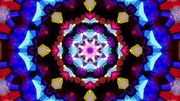 Colorful Stained Glass Kaleidoscope Loop 4K 05