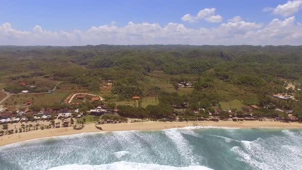 Thumbnail for Aerial view of coastal village in the java sea, Indonesia.