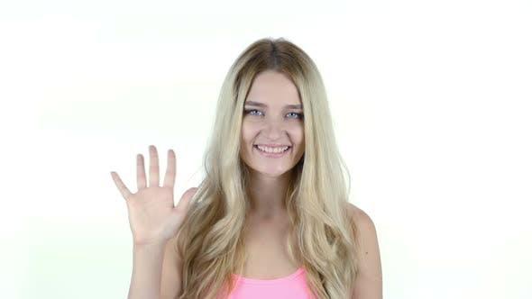 Hi, Hello,  Woman Waving Hand, Welcome