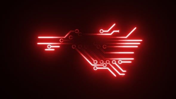 Red Circuits Background