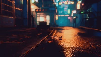 Bokeh Lights on Night Street in Asia