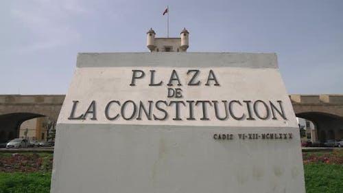 The name plaque in Constitution Square, Cadiz