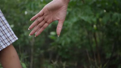 Close up hand of the Mother holding the son hand in slow motion scene