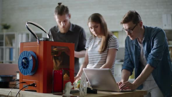 Thumbnail for Engineers Working in 3D Printing Studio