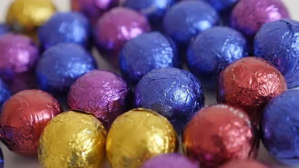 Thumbnail for Close-up of colorful Christmas chocolate treats 3840X2160 UltraHD panning footage - Slow pan on asso