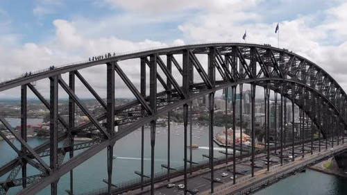 Sydney Harbour Bridge. The Main Bridge That Is in Sydney. Powerful Arched Structure.