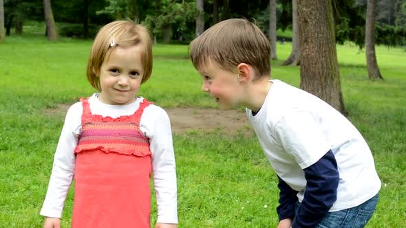 Thumbnail for Children, Siblings, Little Boy and Cute Girl, Talk in the Park