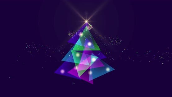 Thumbnail for Animation eines leuchtenden lila Weihnachtsbaums und Weihnachtsschmuck auf violettem Hintergrund