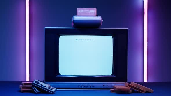 Old Television with White Screen on Purple Neon Background
