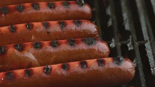 Hot dogs on grill, shot on Phantom Flex 4K