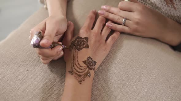 Thumbnail for Drawing Mehndi with a Cone.