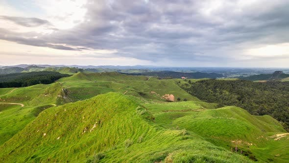 Clouds over Green Countryside New Zealand