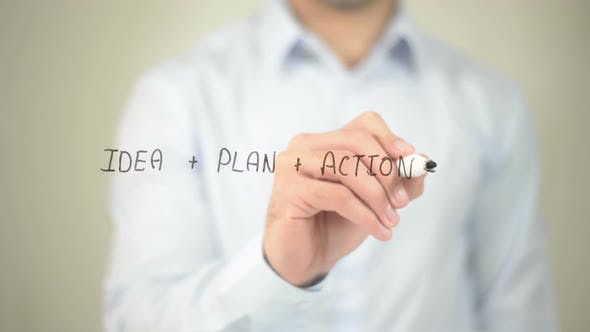 Thumbnail for Idea, Plan, Action Strategy, Businessman Writing on Transparent Screen