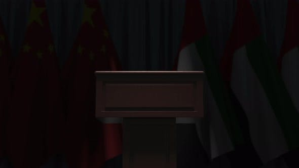 Flags of UAE and China at International Meeting
