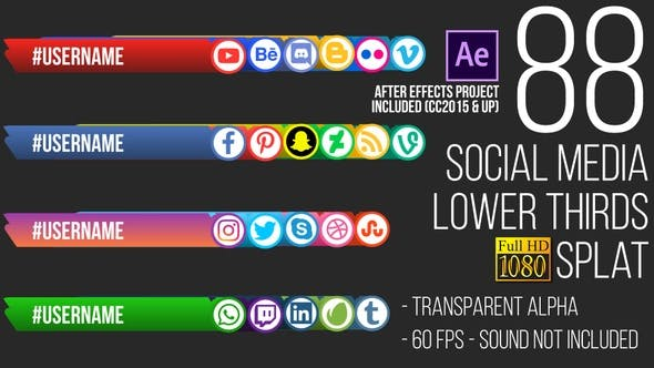 Social Media Lower Thirds Splat FullHD (Video)