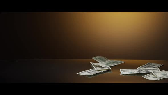 American $100 Bills Falling onto a Reflective Surface - MONEY 0003