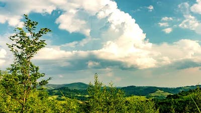 View of the Beskid Mountains on a sunny day.