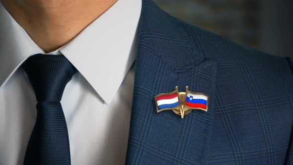 Thumbnail for Businessman Friend Flags Pin Netherlands Slovenia