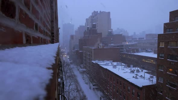 Thumbnail for Snowing Winter Weather in New york City at Christmas Holiday