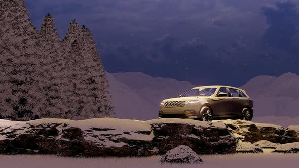 Thumbnail for Evening Luxury White Luxury Off-Road Vehicle in the Snowy Mountain Area