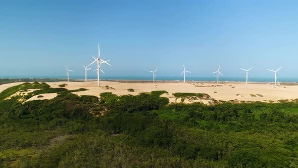 Thumbnail for Aerial view of wind turbines on the top of dunes, Brazil.