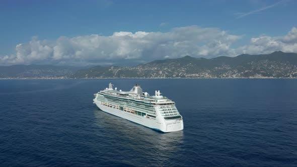 Thumbnail for Aerial View. Cruise Ship Sailing Across the Mediterranean Sea.