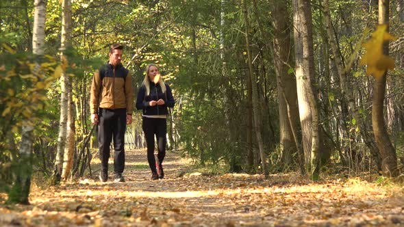 Thumbnail for A Hiking Couple Walks Down a Path Through a Forest on a Sunny Day - Front View From Ground