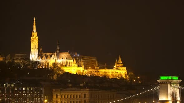 Thumbnail for Fishermen's Bastion and Matthias Church. Night time