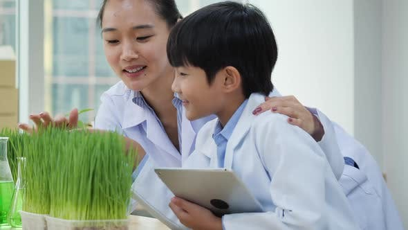 Thumbnail for Teacher teaching student and experiment of plant in the laboratory