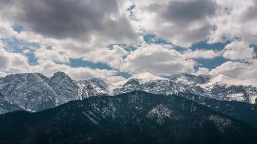 Timelapse Of A Tatra Mountain Panorama With Fast Moving Clouds